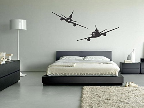 CreativeWallDecals Wall Decal Vinyl Sticker Decals Art Decor Design Two Plane Airplane Airport Air Wings Modern Sryle Bedroom Living Room (r9)