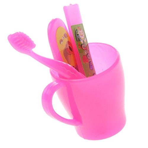 Barbie Tooth (MonkeyJack 4pcs Plastic Mini Toothbrush Cup Set Dolls Toothbrush for Barbie Kelly)