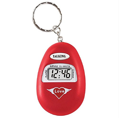 S'Beauty Oval Talking Alarm Clock Keychain - English Broadcast for The Old Man and The Blind (Red)