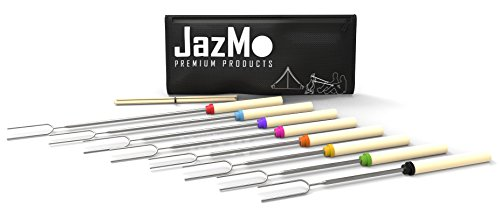 JazMo Premium Products Telescoping Marshmallow Roasting Sticks,Expandable Smores Skewers-32-Inch Extending Stainless Steel Fork, for hot dogs,Set of 8,10-Pieces mini bamboo sticks with storage Bag By by JazMo Premium Products