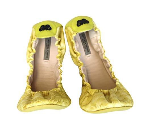 307913 Yellow Bottega Ballerina Flat Ballet Nylon Veneta Intrecclolusion 7Hww5q0g4