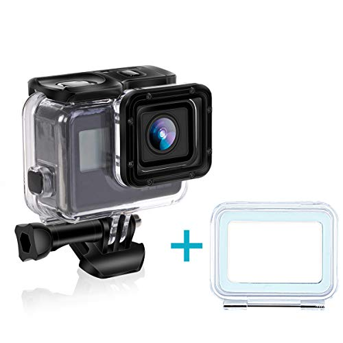 Yimobra Waterproof Housing Case for Gopro Hero 7 Silver and White Protective Underwater 196FT 60M Sport Action Camera Hero Accessories with Bracket (Presented Touch Back Cover) ()