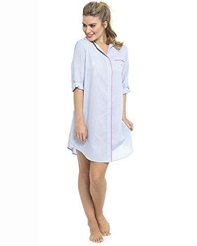 Botón de Check mujeres damas ropa de dormir ropa de dormir a través de la camisa de dormir con bolsillo superior, varios colores y tamaños LN520 BLUE