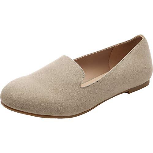 Aukusor Women's Wide Width Flat Shoes - Comfortable Slip On Pointed Toe Ballet Flats.(180506 Beige 9.5)