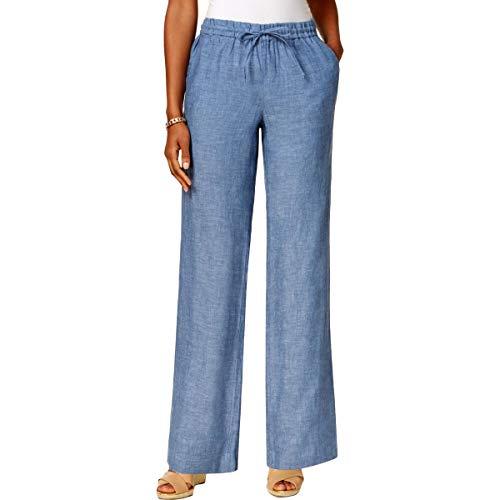 (Charter Club Womens Linen Lightweight Casual Pants Blue XL)