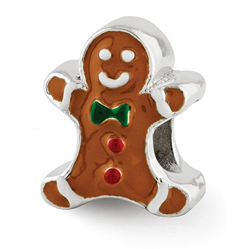 925 Sterling Silver Charm For Bracelet Enameled Gingerbread Man Bead Holiday Celebration Fine Jewelry Gift For Dad Mens For Him