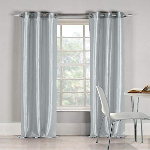 - Duck River Textiles Bali Faux Silk Grommet Top Window Curtain 2 Panel Drape, 38