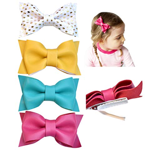 California Tot Premium Faux Leather Bow Hair Clips for Toddler, Girls, Mixed Set of 4 (Tea Party Set)
