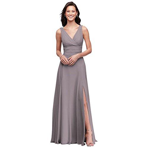 Surplice Chiffon Dress (David's Bridal Surplice Tank Long Chiffon Bridesmaid Dress Style F19831, Portobello, 2)