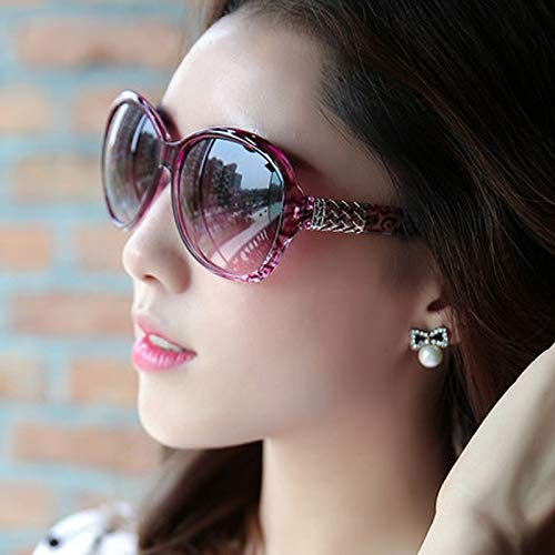 Sunglasses Tide Women Girls Star Style Glasses Sunglasses Glasses Sunglasses Personality Thin Unique Round face Korea Elegant Retro Eye (Transparent Purple Glasses [Box]