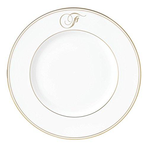 Lenox Federal Gold Script Monogram Dinnerware Accent Plate, F