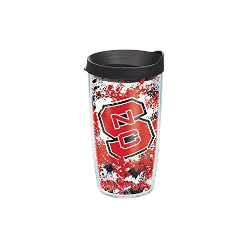 Tervis 1140117 NC State Wolfpack Splatter Tumbler with Wrap and Black Lid 16oz, Clear (Tervis Tumbler Wolf)
