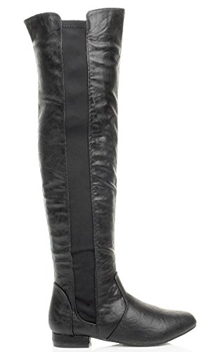 riding flat Matte Black the Ajvani ladies Womens over size stretch low elastic heel zip boots knee wPWAFxqWHU