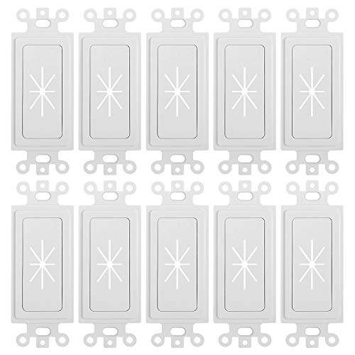 - CMPLE - Decora Wall Plate 1-Gang Insert with Flexible Opening Single Gang Decor Wall Plate - White - (10 Pack)