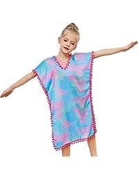Beinou Cover Ups Mermaid V-Neck Swim Dress for Toddler Girls with Pompom for Girls