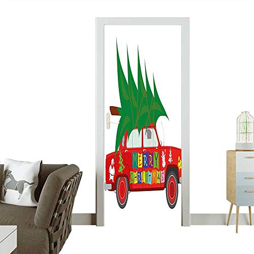 Homesonne 3D Photo Door Murals Vintage Car with Xmas Tree Merry Christmas Quote and Santa Snowman Elf Red Easy to Clean and applyW17.1 x H78.7 INCH