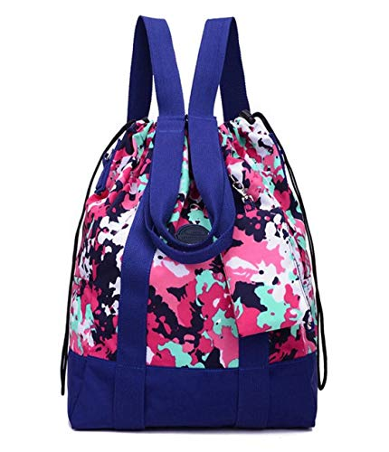 Women's Large Floral Nylon Travel Totes Sports Gym Bag Multipurpose Drawstring Backpack with Extra Small Pouch (Camouflage)