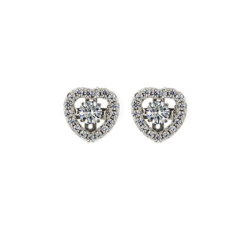 NANA Sterling Silver Heart Dancing Stone Earrings made with Swarovski Zirconia (White, platinum-plated-silver)