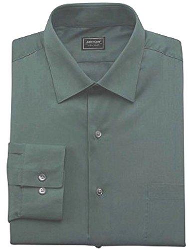 Arrow Mens Fitted Solid Poplin 'No Iron' Dress Shirt Dark Green (16 Neck 34/35 Sleeves) (Green Arrow Suit)