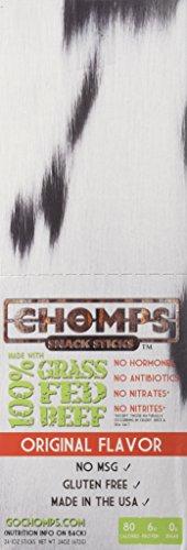 Chomps Grass Fed Beef Snack Sticks - Original Flavor 1oz, 24 per container