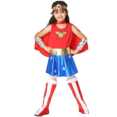 [Qute] Kid's Dress up Costume, Batman/ Superman/ Spider man/ Captain of America/ Wonder Women Costumes, Dress Up & Role Play (XL (4.10′- 4.43′), Wonder (Fat Bat Costume)
