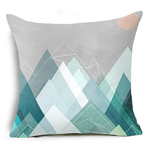 Bokeley Pillow Case, Cotton Linen Square Geometric Pattern Decorative Throw Pillow Case Bed Home Decor Cushion Cover (G)