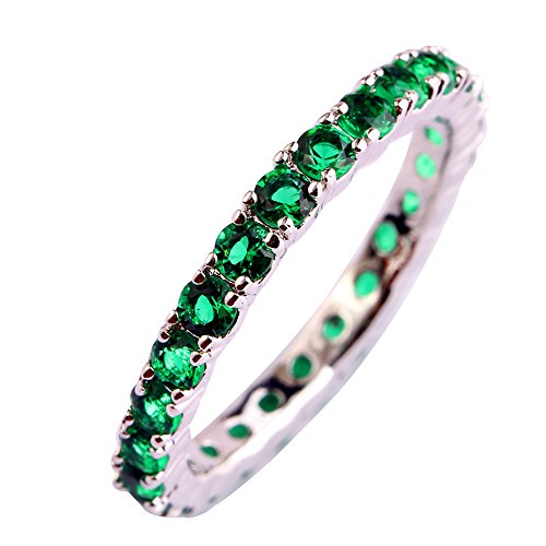Psiroy 925 Sterling Silver Created Emerald Quartz Filled Eternity Stacking Ring Band Size 8