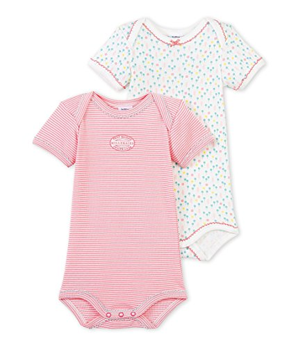 Petit Bateau Baby Girls  2 Pack Striped and Printed Bodysuits 3c82d58895f