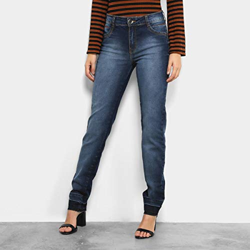 Calça Jeans Skinny Dimy Estonada Barra Desfiada Feminina - Jeans - 44