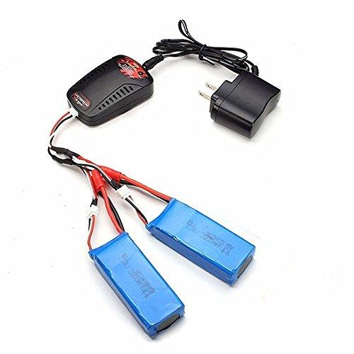 CreaTion® 3pcs 7.4V 2000mAh Batterie améliorée Banana plug + Chargeur + 3 en 1 Batterie 7.4V Chargeur pour Syma X8C X8W X8G X8HW X8HG X8HC RC Quadcopter