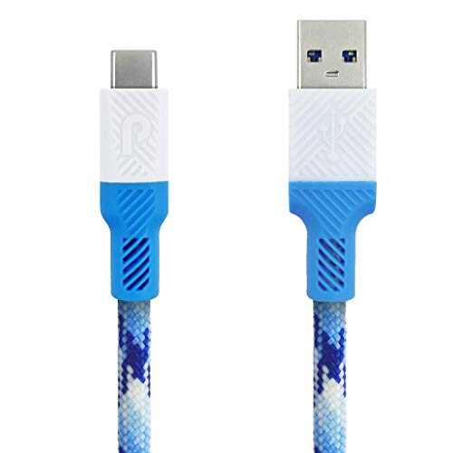 - Paracable Paracord Wrapped USB-C Cable (Glacier) | Monochromatic Blue and White Fabric Wrapped USB-C to USB-A 3.0 Cable with Paraflex Ends (3 Foot (1 Meter))