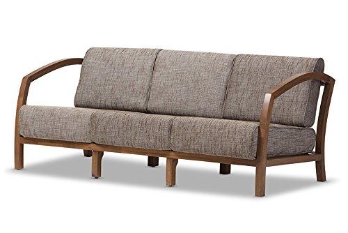 Baxton Studio Verna Modern and Contemporary Walnut Wood Gravel Fabric 3 Seater Sofa