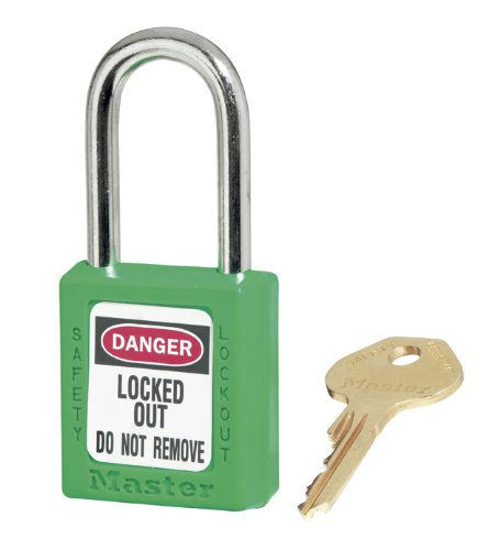 Master Lock Safety - Master Lock 410GRN Green 410 Zenex Safety Padlock with Short Body, 1/4