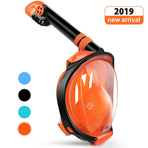 Greatever G2 Full Face Snorkel Mask with Latest Dry Top System,Foldable 180 Degree Panoramic View Snorkeling Mask with Camera Mount,Safe Breathing,Anti-Leak&Anti-Fog