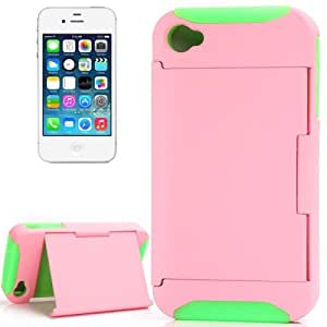 Silicone + Plastic Combination Case with Holder for iPhone 4 & 4S (Pink + Green)