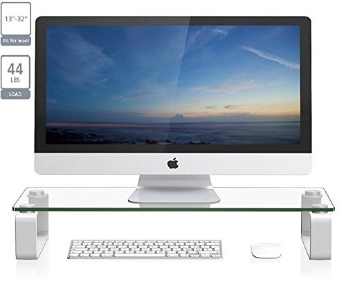 ProHT New Glass TV Stand Computer Monitor Riser (05433AA) for 13'' to 32'' LCD LED TV Save Space Destop Stand, Thick Tempered Clear Plate Glass,Max Load 44lbs,White.Power White ()