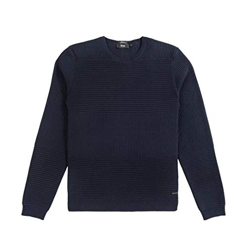 Hugo Boss New Navy Cotton Wool Textured Striped Slim FIT BANTY Sweater Size 2XL (Striped Hugo Boss Sweater)
