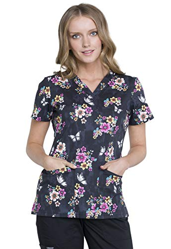 Cherokee CK616 Fashion Prints Women's V-Neck Floral Print Scrub Top Butterflies and Blossoms -