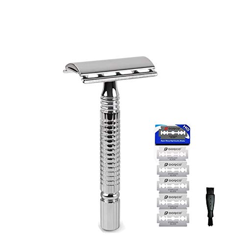 Classic Silver Chrome Double Edge Safety Razor 10 Platinum Dorco Blades + Mini Cleaning Brush Storage Pouch Manual Wet Shaving Kit -