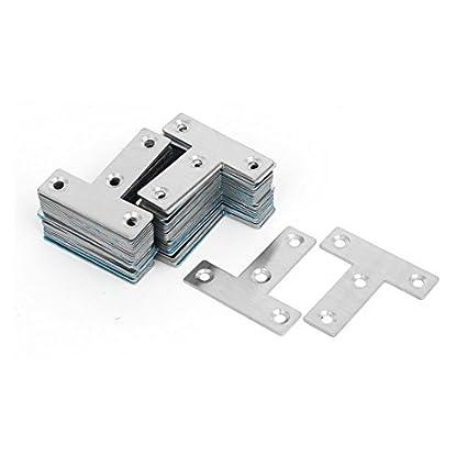 eDealMax 50mmx50mmx1mm T en forma de placas de reparación plana 60pcs junta de esquina sujetador del