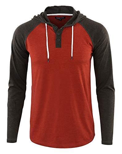 DESPLATO Men's Casual Long Sleeve Lightweight Henley Hooded Shirt Hoodie Jersey H.Rusty/H.Charcoal ()