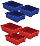 Best-Rite Storage Tubs, Set of 6, 3 Red and 3 Blue (TUBS-6)