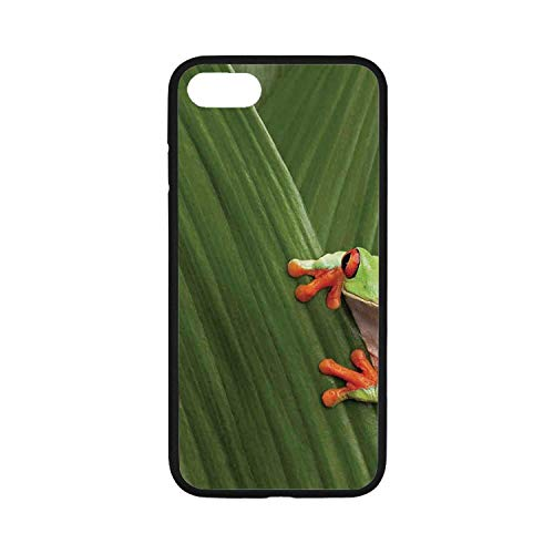 Animal Decor Rubber Phone Case,Red Eyed Tree Frog Hiding in Exotic Macro Leaf in Costa Rica Rainforest Tropical Nature Photo Compatible with iPhone 8