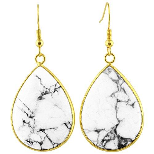 Turquoise Dangling Hook Earrings - SUNYIK Women's White Howlite Turquoise Teardrop Hook Dangle Earrings