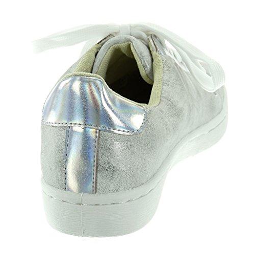 Moda 5 Plano 2 Cm Plata Angkorly Tacón Deportivos Mujer Patentes Talón De Tennis Zapatillas TAqPxSzwE