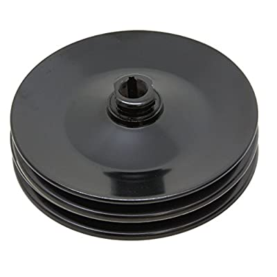 STEEL Compatible/Replacement for CHEVY GM KEY WAY POWER STEERING PUMP PULLEY 2 GROOVE - BLACK: Automotive