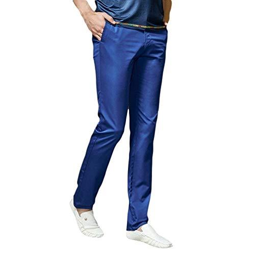 Haute Pantalon Slim 32 Maigre Casual Unie couleur Confortable Battercake Men Taille Chinois Fit Cargo Saphir Couleur gATTUq
