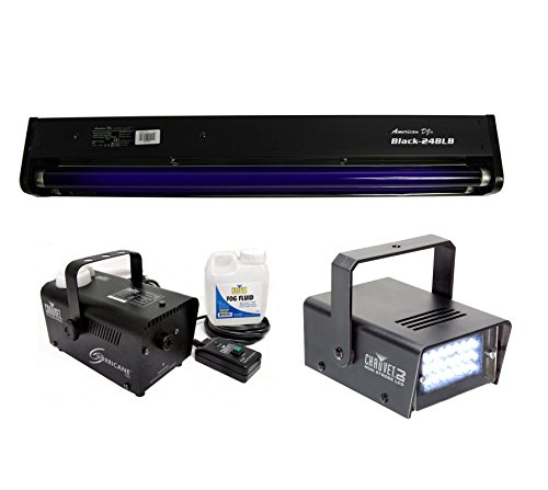 AMERICAN DJ BLACK-24BLB 24'' UV Blacklight + CHAUVET Strobe Light + Fog Machine by ADJ Products