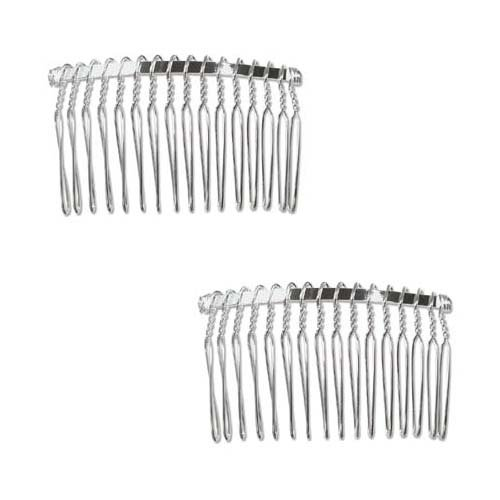 Beadaholique 2 Piece Fancy Hair Combs With Fun Craft Beading Project 1 14 Inch Silver