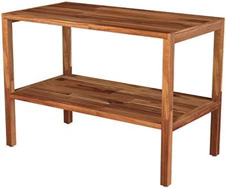 INTERBUILD Solid Wood 2 Tier Storage Bench Entry Bench Shoes Rack Bench, Golden Teak